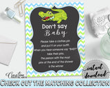 DON'T SAY BABY game for baby shower with green alligator and blue color theme, instant download - ap002