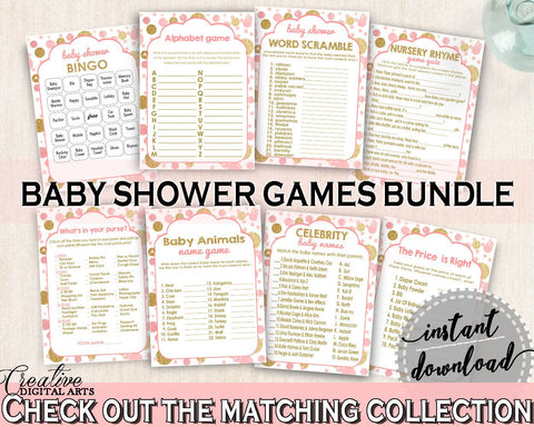 Pink Gold Games Package, Baby Shower Games Package, Dots Baby Shower Games Package, Baby Shower Dots Games Package digital download - RUK83 - Digital Product