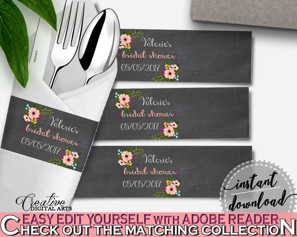 Black And Pink Chalkboard Flowers Bridal Shower Theme: Napkin Ring Editable - diy napkin rings, chalkboard floral, digital download - RBZRX - Digital Product