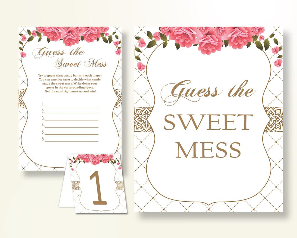 Sweet Mess Baby Shower Sweet Mess Roses Baby Shower Sweet Mess Baby Shower Roses Sweet Mess Pink White shower celebration pdf jpg U3FPX - Digital Product