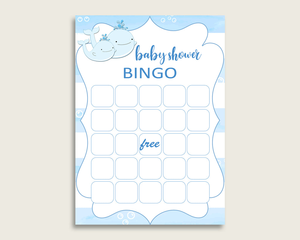 Blue White Baby Shower Bingo Blank Game Printable, Whale Baby Shower Boy Bingo Blank Cards, Bingo Gift Opening Game, Nautical Sea wbl01