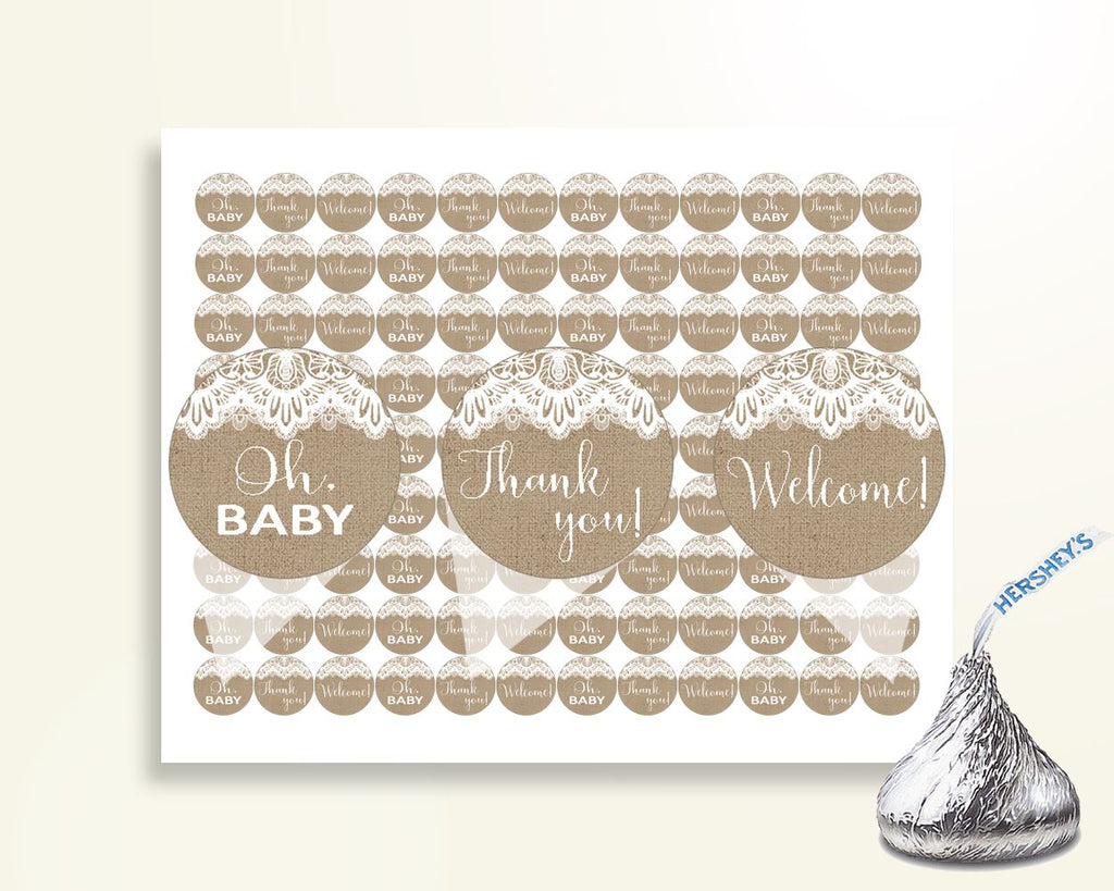 Hershey Kisses Baby Shower Hershey Kisses Burlap Lace Baby Shower Hershey Kisses Baby Shower Burlap Lace Hershey Kisses Brown White W1A9S - Digital Product