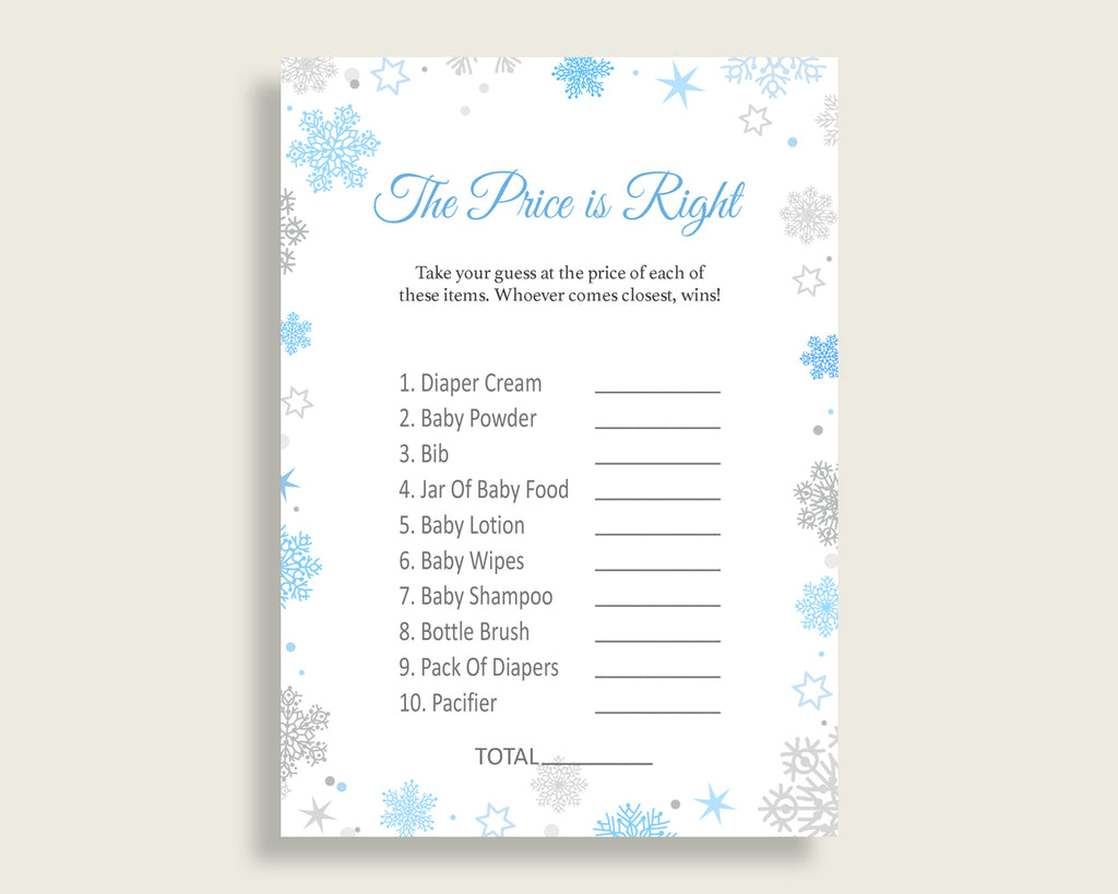 Price Is Right Baby Shower Price Is Right Snowflake Baby Shower Price Is Right Blue Gray Baby Shower Snowflake Price Is Right prints NL77H