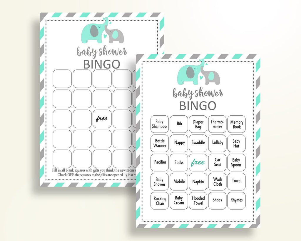 Bingo Baby Shower Bingo Turquoise Baby Shower Bingo Baby Shower Elephant Bingo Green Gray party plan digital download party theme 5DMNH - Digital Product