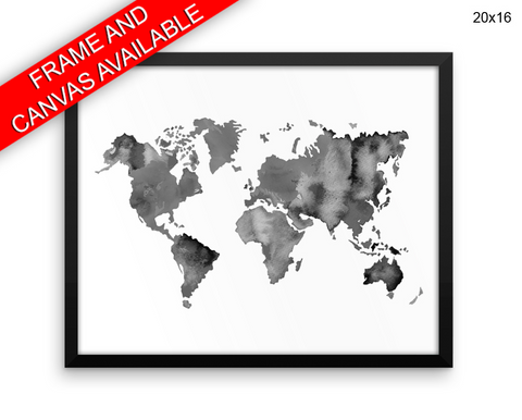 World Map Print, Beautiful Wall Art with Frame and Canvas options available  Decor