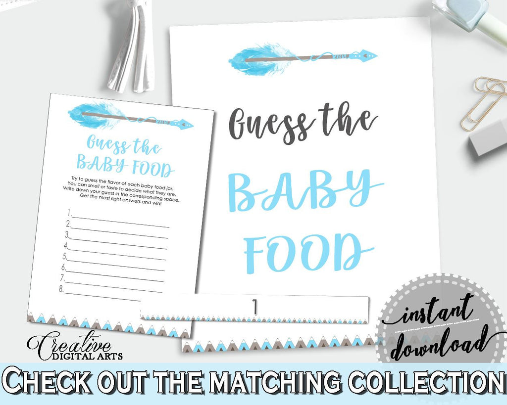 Baby Food Guessing Baby Shower Baby Food Guessing Aztec Baby Shower Baby Food Guessing Blue White Baby Shower Aztec Baby Food QAQ18 - Digital Product