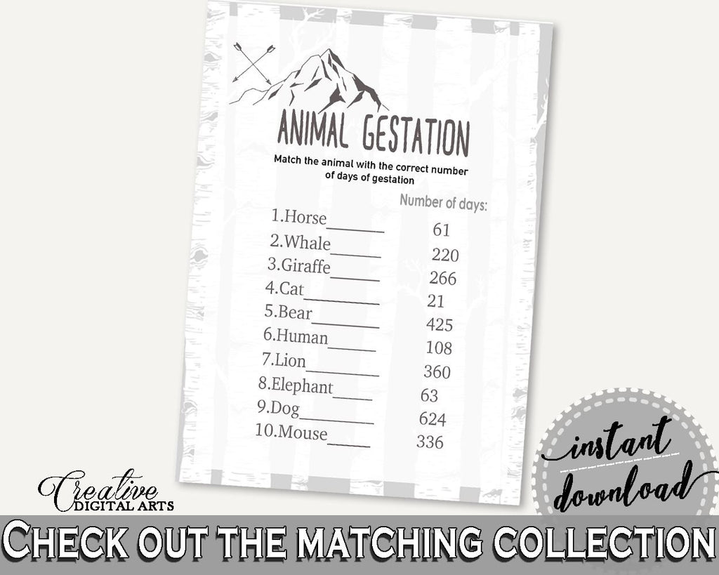 Animal Gestation Baby Shower Animal Gestation Adventure Mountain Baby Shower Animal Gestation Gray White Baby Shower Adventure S67CJ - Digital Product
