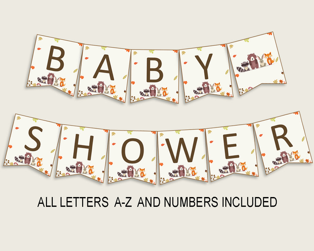 Woodland Baby Shower Banner All Letters, Birthday Party Banner Printable A-Z, Brown Beige Banner Decoration Letters Gender Neutral, w0001