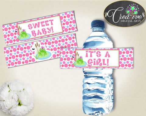 Baby Shower Froggy Shower Frog Theme Personalized Labels Drink Labels WATER BOTTLE LABELS, Party Planning, Prints - bsf01 - Digital Product