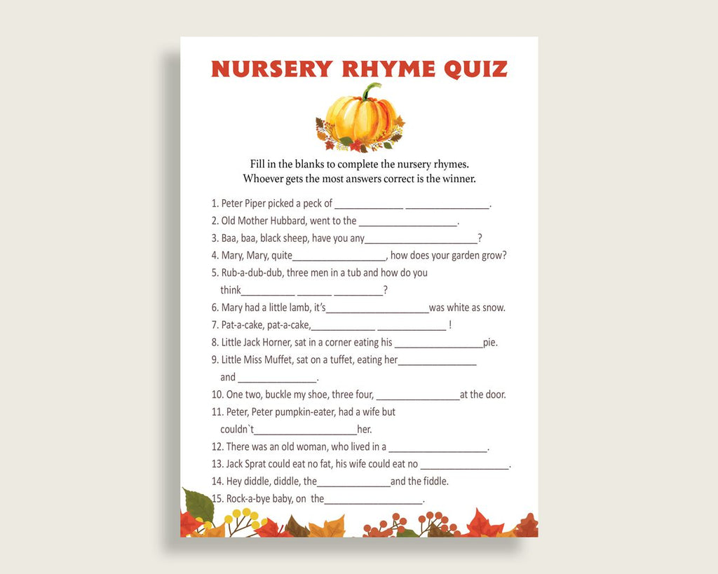 Nursery Rhyme Quiz Baby Shower Nursery Rhyme Quiz Fall Baby Shower Nursery Rhyme Quiz Baby Shower Pumpkin Nursery Rhyme Quiz Orange BPK3D - Digital Product