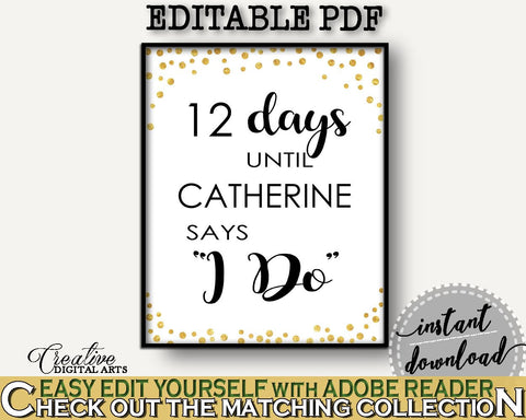 Days Until I Do Bridal Shower Days Until I Do Confetti Bridal Shower Days Until I Do Bridal Shower Confetti Days Until I Do Gold White CZXE5 - Digital Product