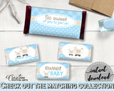 Little Lamb Baby shower boy CANDY BAR wrappers and labels blue printable sheep theme, digital files, Jpg Pdf, instant download - fa001