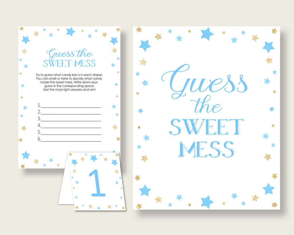 Stars Guessing Game Baby Shower Boy, Blue Gold Guess The Sweet Mess Game Printable, Dirty Diaper Game, Instant Download, Little Star bsr01