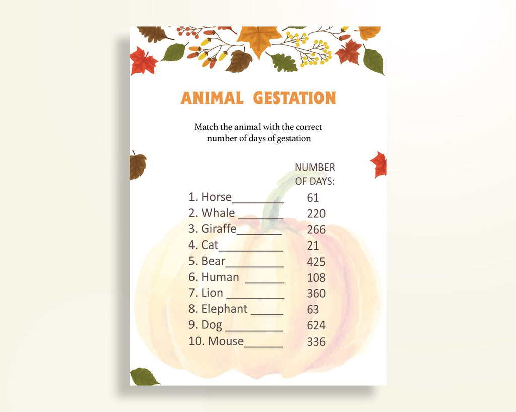 Animal Gestation Baby Shower Animal Gestation Autumn Baby Shower Animal Gestation Baby Shower Pumpkin Animal Gestation Orange Brown OALDE - Digital Product