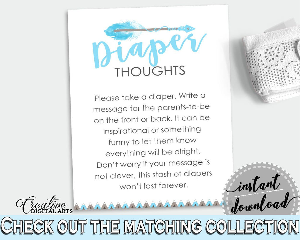Diaper Thoughts Baby Shower Diaper Thoughts Aztec Baby Shower Diaper Thoughts Blue White Baby Shower Aztec Diaper Thoughts prints QAQ18 - Digital Product