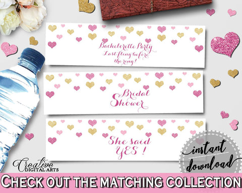 Gold And Pink Glitter Hearts Bridal Shower Theme: Bottle Labels - water wrapper,  affection shower, paper supplies, shower activity - WEE0X - Digital Product