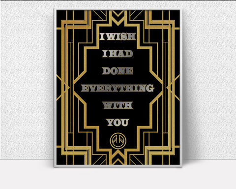 Wall Art Deco Digital Print Gatsby Poster Art Deco Wall Art Print Gatsby  Wall Decor Deco gatsby quote gold black silver art deco - Digital Download