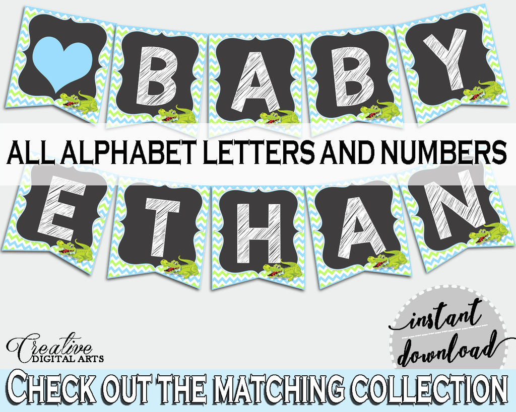Baby shower BANNER decoration printable with green alligator and blue color theme, instant download - ap002