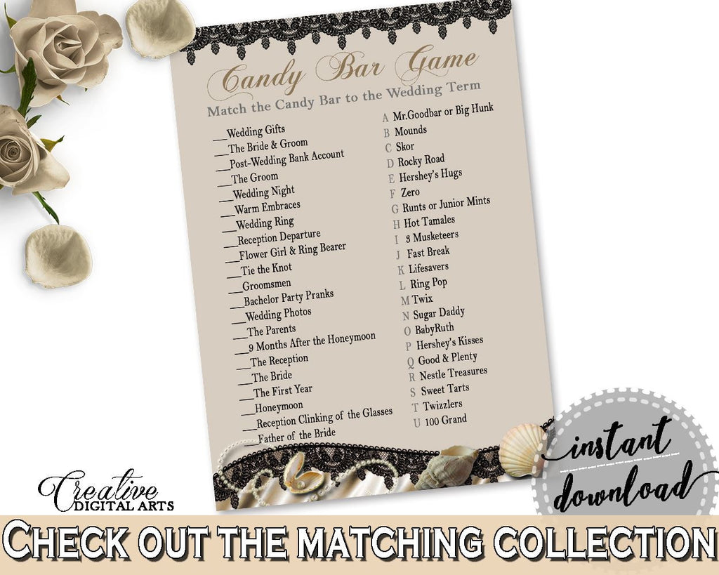 Brown And Beige Seashells And Pearls Bridal Shower Theme: Candy Bar Game - pregnancy, black lace, paper supplies, shower activity - 65924 - Digital Product