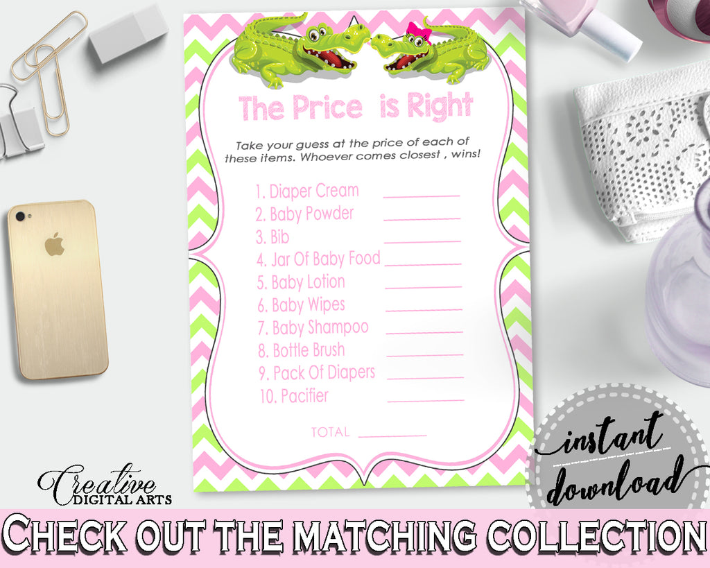 Baby Shower THE PRICE IS RIGHT game with green alligator and pink color theme, instant download - ap001