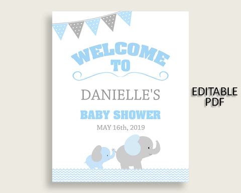 Blue Grey Elephant Baby Shower Welcome Sign Printable, Party Large Sign, Editable Welcome Sign Boy, Yard Sign, Instant Download, ebl02