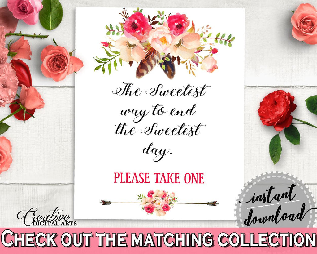 Bohemian Flowers Bridal Shower The Sweetest Way To End The Sweets Day in Pink And Red, dessert sign, party supplies, party décor - 06D7T - Digital Product