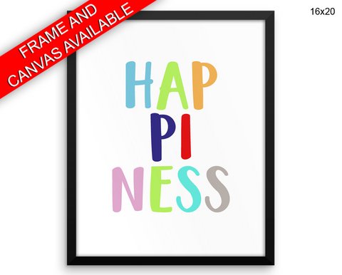 Happiness Print, Beautiful Wall Art with Frame and Canvas options available Nursery Decor