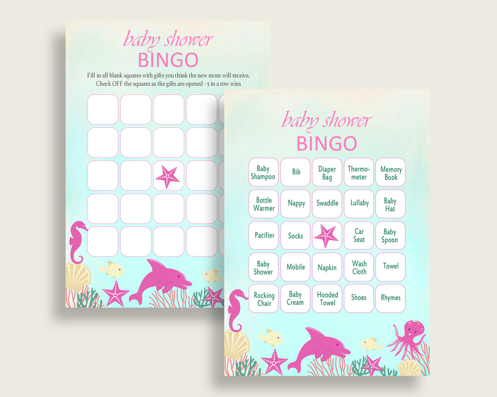 Under The Sea Baby Shower Bingo Cards Printable, Pink Green Baby Shower Girl, 60 Prefilled Bingo Game Cards, Popular Sea Creatures uts01