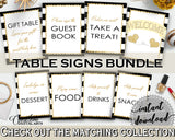 Baby shower TABLE SIGNS decoration printable with black strips color theme, black gold glitter, digital jpg pdf, instant download - bs001