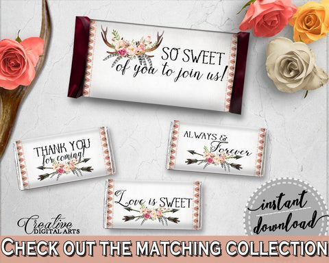 Hershey Mini And Standard Wrappers in Antlers Flowers Bohemian Bridal Shower Gray and Pink Theme, candy wrappers, party décor - MVR4R - Digital Product