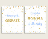 Sign The Onesie Baby Shower Design A Onesie Confetti Baby Shower Sign The Onesie Blue Gold Baby Shower Confetti Design A Onesie cb001