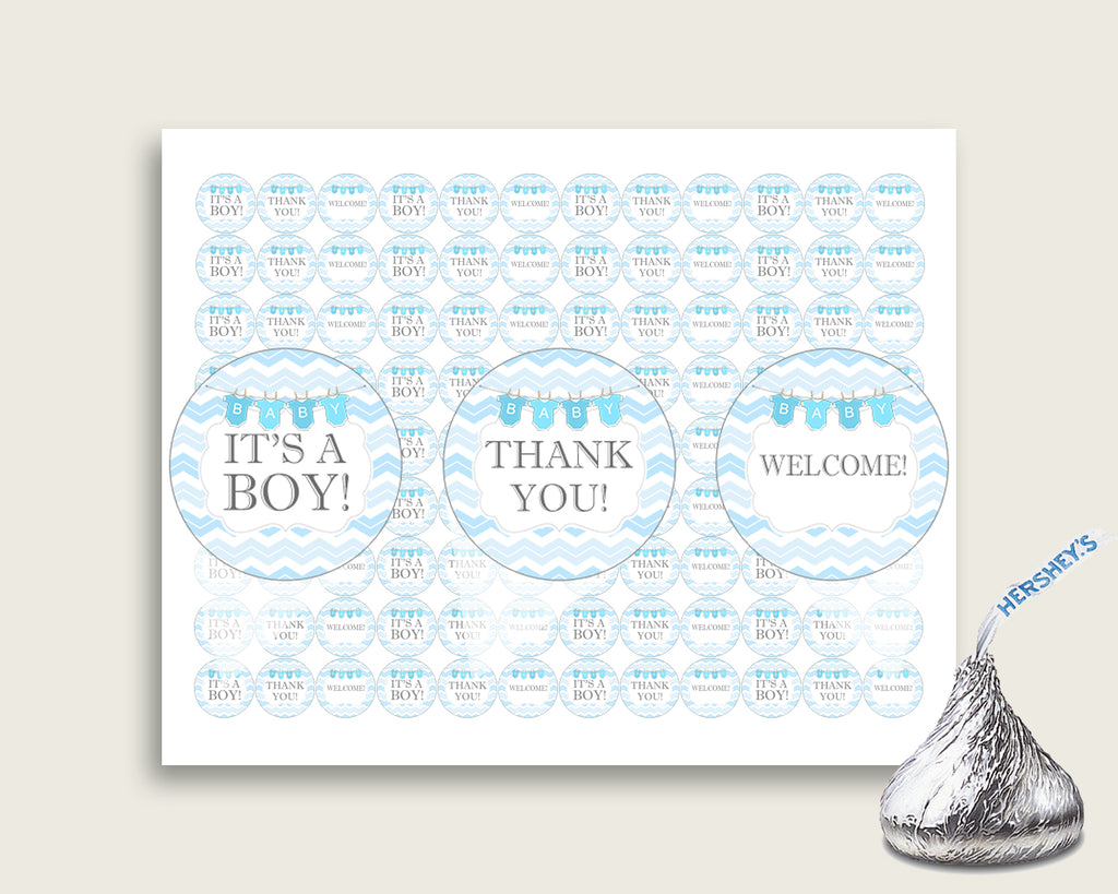 Chevron Hershey Kisses Circle Printable, Blue White Hershey Kisses Labels Round Digital, Boy Baby Shower, Instant Download, Popular, cbl01