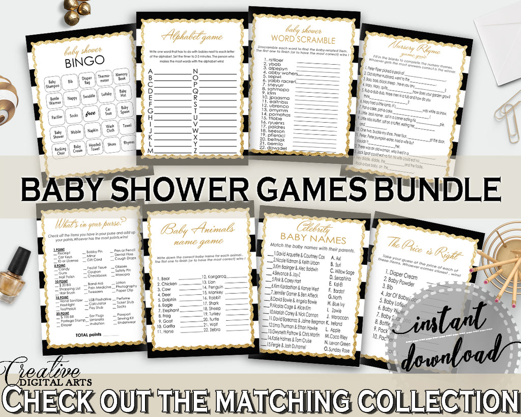 Baby Shower games package bundle printable glitter gold title with black white stripes, 8 games pack pdf jpg - Instant Download - bs001