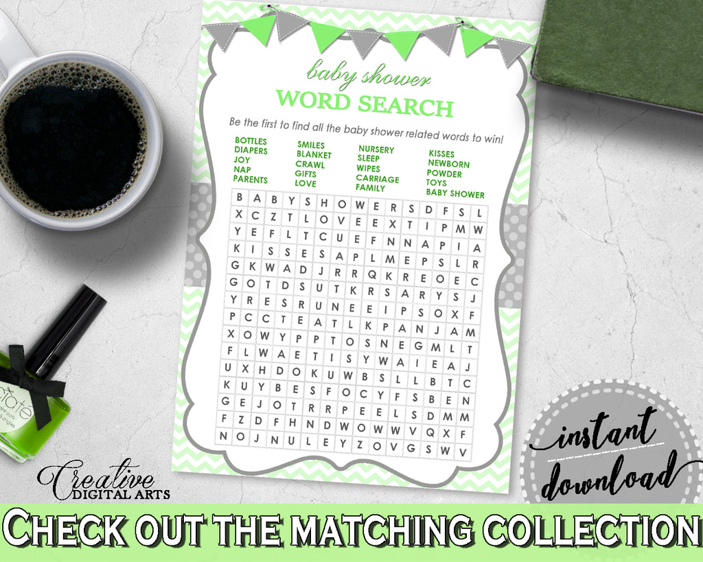 Baby Shower boy girl WORD SEARCH game with chevron green theme printable, digital files, Jpg Pdf, instant download - cgr01