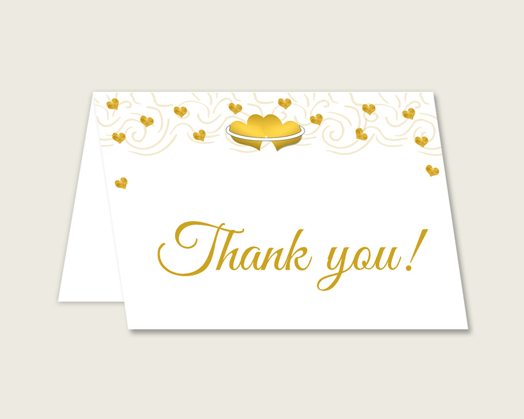 Thank You Card Bridal Shower Thank You Card Gold Hearts Bridal Shower Thank You Card Bridal Shower Gold Hearts Thank You Card White 6GQOT