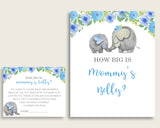 Blue Gray How Big Is Mommy's Belly Game, Elephant Blue Baby Shower Boy, Guess Mommys Belly Size, Mommy Tummy Game, Instant Download, ebl01