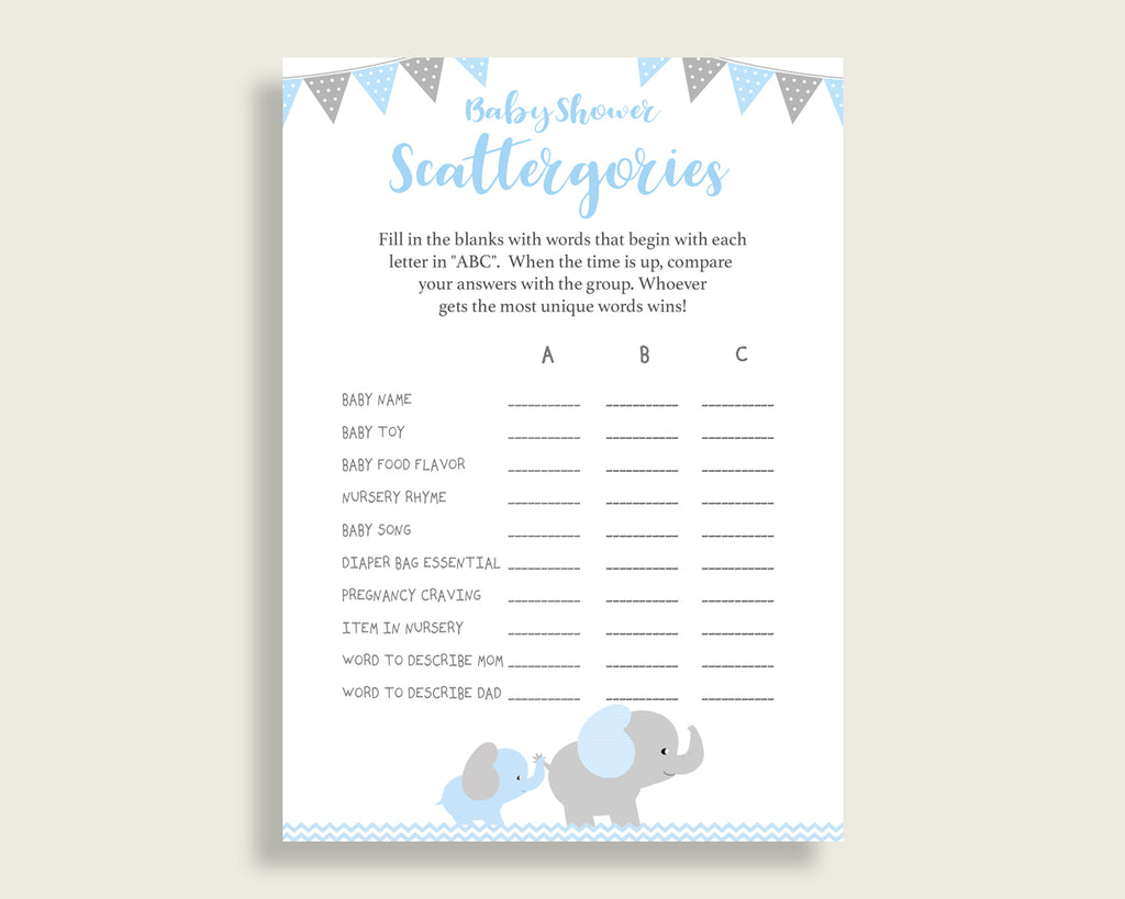 picture about Printable Scattergories referred to as Scattergories Youngster Shower Elephant Concept, Blue Gray Scattergories Recreation Printable, Boy Kid Shower Entertaining Video game, Chevron Topic Optimum ebl02