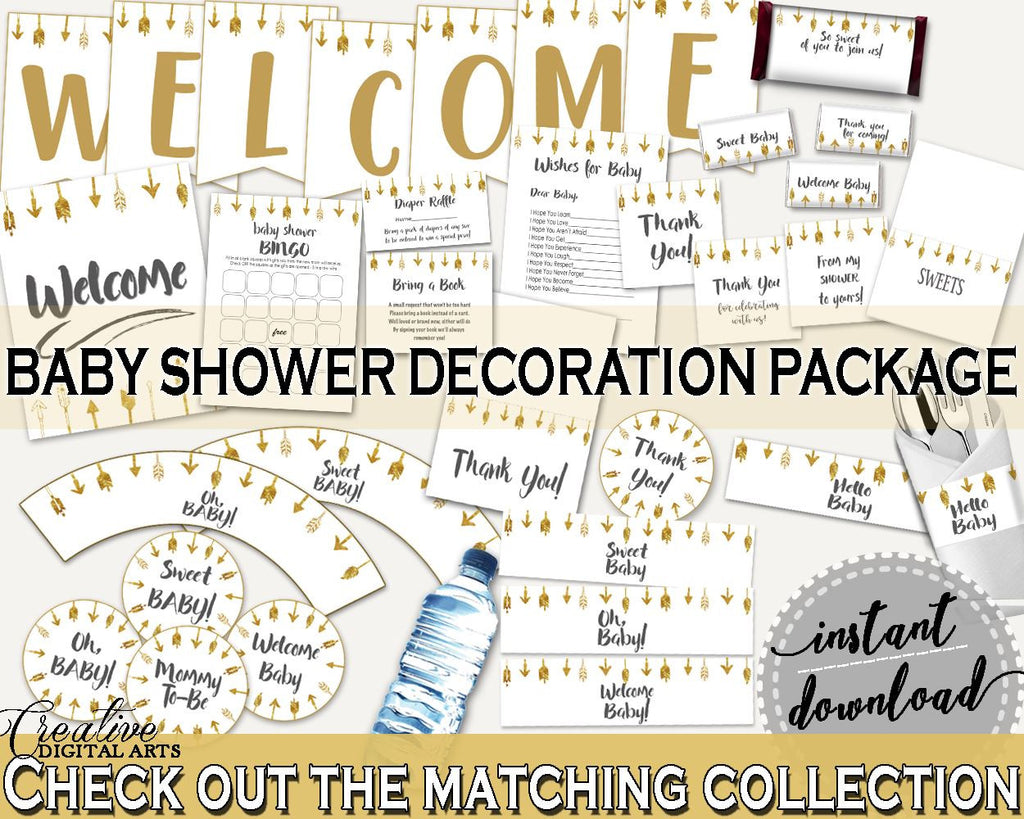 Decorations Baby Shower Decorations Gold Arrows Baby Shower Decorations Baby Shower Gold Arrows Decorations Gold White party plan, pdf I60OO - Digital Product