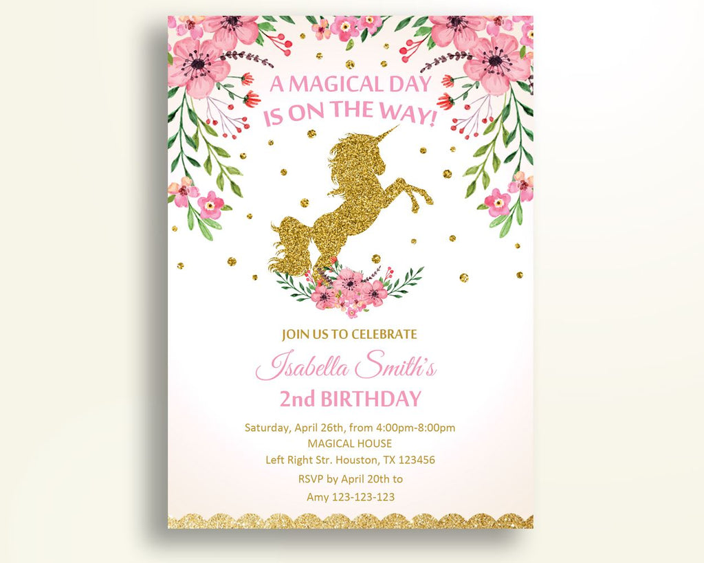 Unicorn Birthday Invitation Flowers Birthday Party Invitation ...