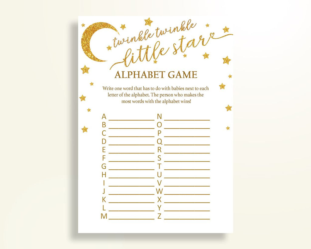 Alphabet Game Baby Shower Abc Game Stars Baby Shower Alphabet Game Baby Shower Stars Abc Game Gold White digital download prints RKA6V - Digital Product