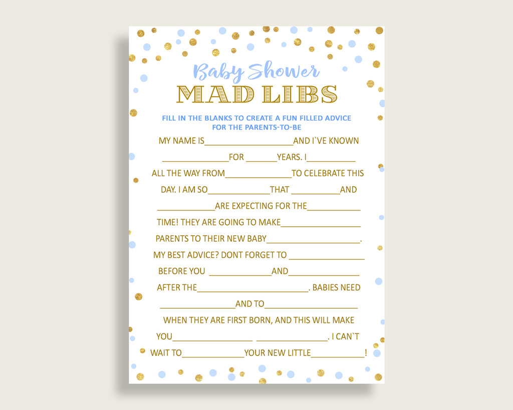 Mad Libs Baby Shower Mad Libs Confetti Baby Shower Mad Libs Blue Gold Baby Shower Confetti Mad Libs instant download printable cb001