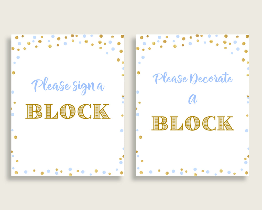 Sign A Block Baby Shower Decorate A Block Confetti Baby Shower Sign A Block Blue Gold Baby Shower Confetti Decorate A Block prints cb001
