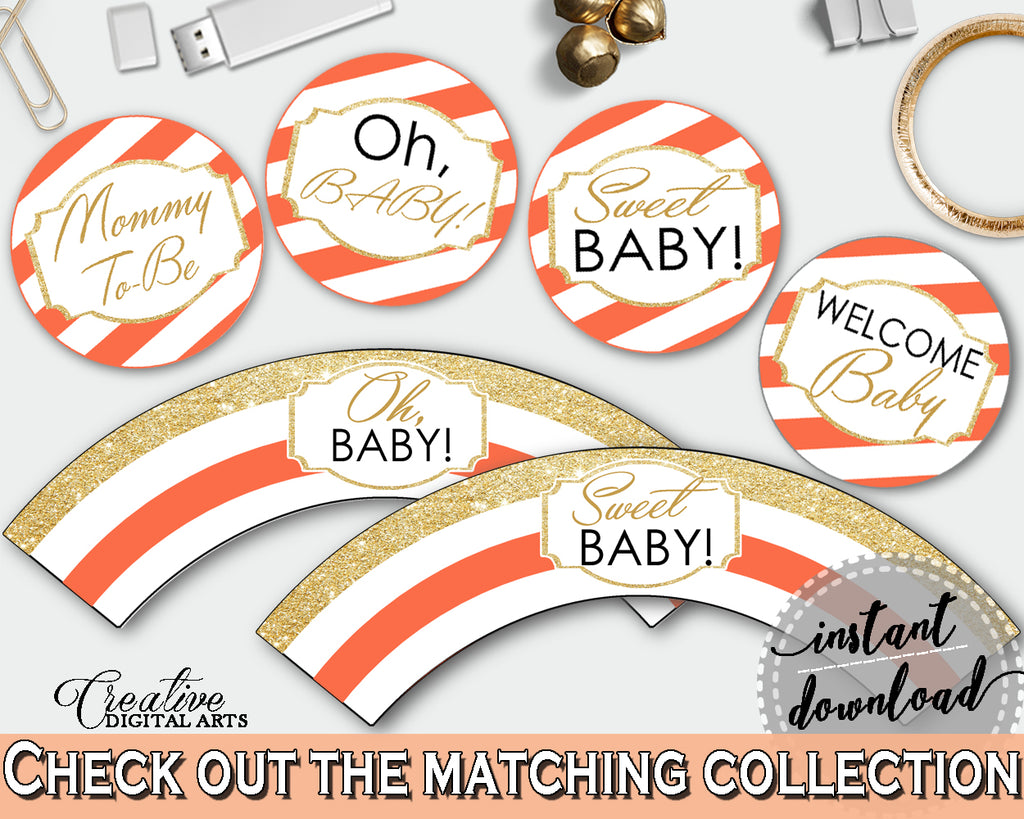 Baby shower orange CUPCAKE TOPPERS and cupcake WRAPPERS printable with glitter gold orange theme decorations, instant download - bs003