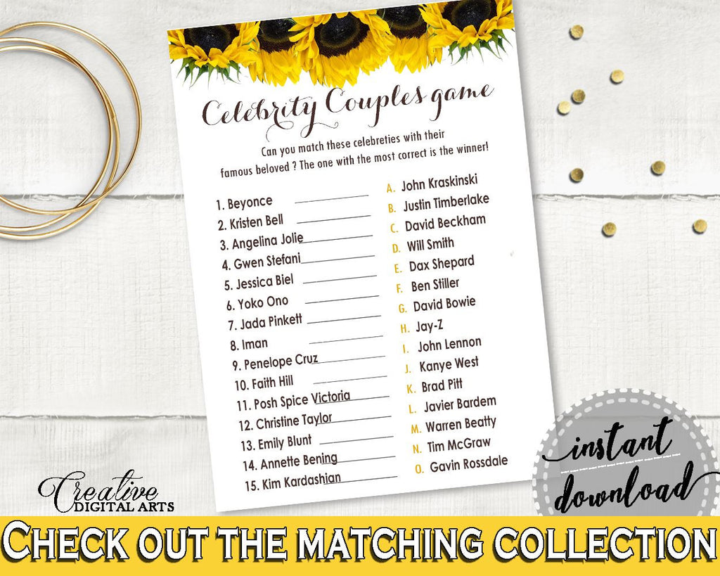 Celebrity Couples Bridal Shower Celebrity Couples Sunflower Bridal Shower Celebrity Couples Bridal Shower Sunflower Celebrity Couples SSNP1 - Digital Product