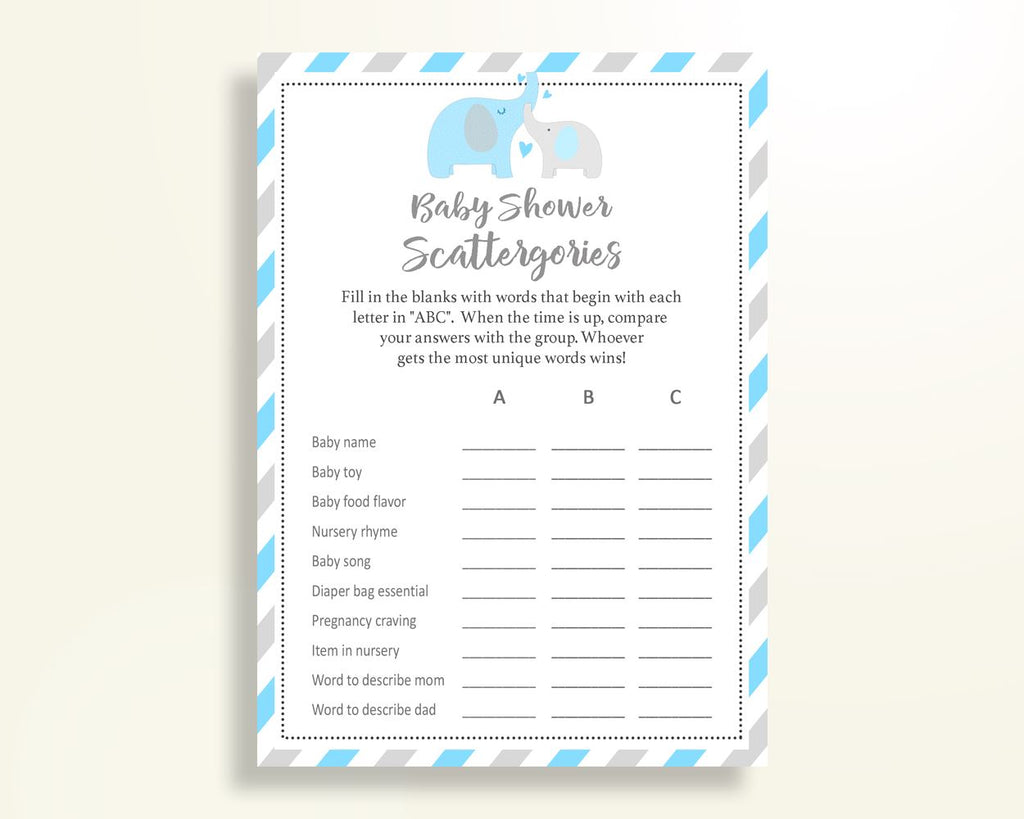 Scattergories Baby Shower Scattergories Elephant Baby Shower Scattergories Blue Gray Baby Shower Elephant Scattergories printable C0U64 - Digital Product
