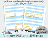 Baby shower Place CARDS or FOOD TENTS editable printable with blue and white stripes for boys, instant download - bs002