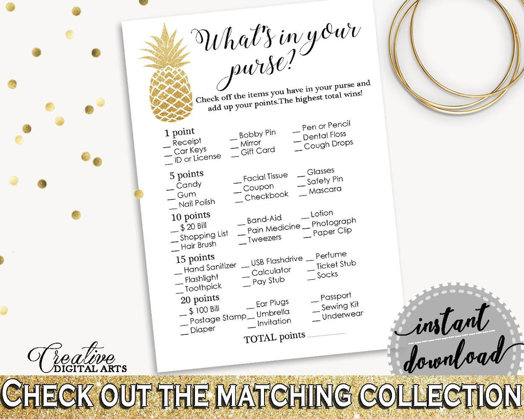 whats in your purse game bridal shower whats in your purse game pineapple bridal shower whats