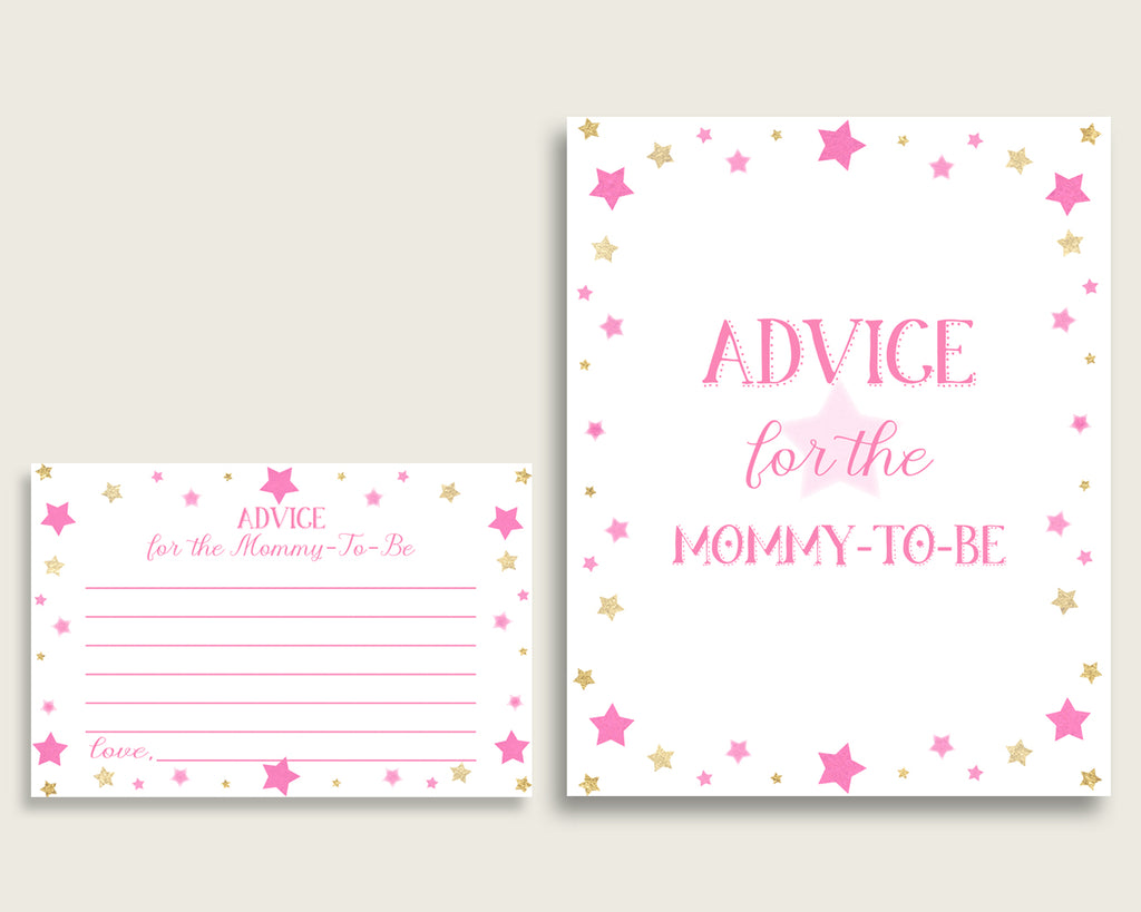 Twinkle Star Advice For Mommy To Be Cards & Sign, Printable Baby Shower Pink Gold Advice For New Parents, Instant Download, Cute Stars bsg01