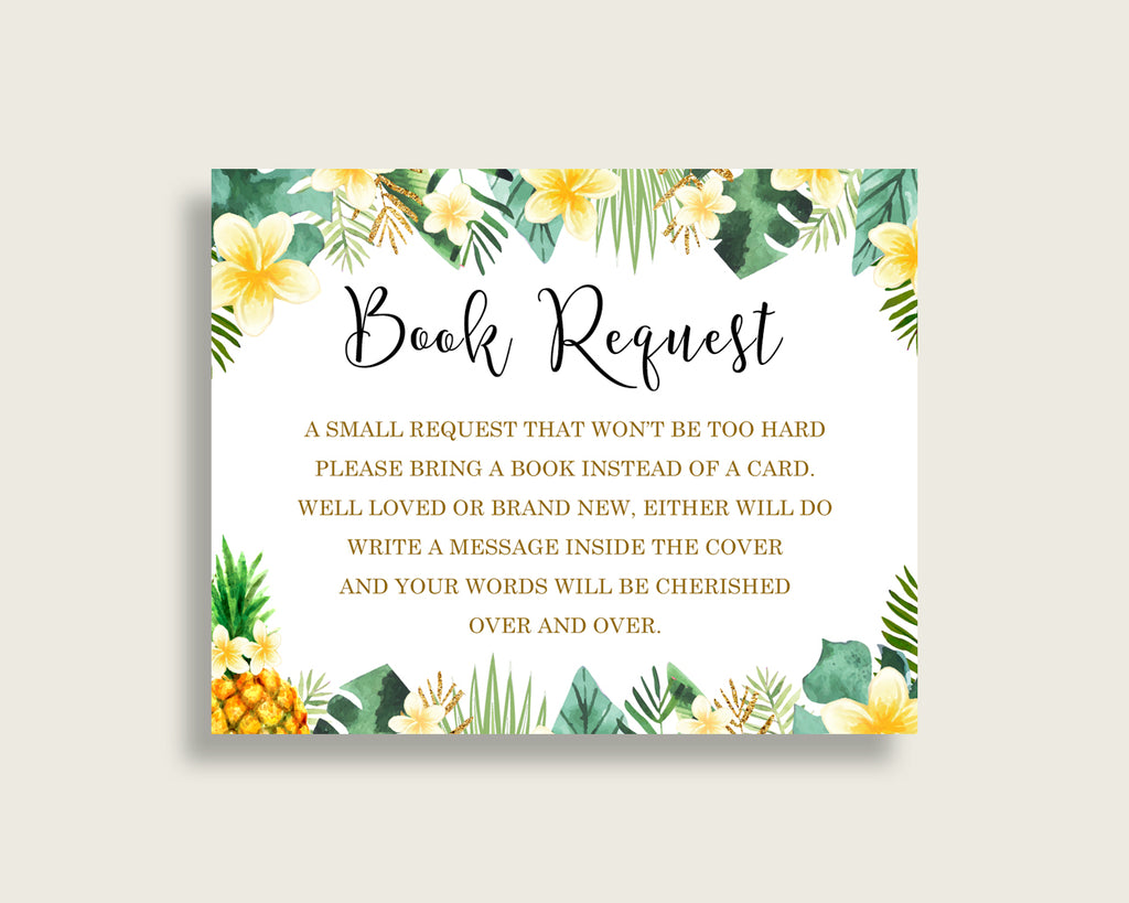 Tropical Baby Shower Bring A Book Insert Printable, Gender Neutral Green Yellow Book Request, Tropical Books For Baby, Book Instead Of 4N0VK