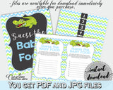 GUESS THE BABY FOOD game for baby shower with green alligator and pink blue theme, instant download - ap002
